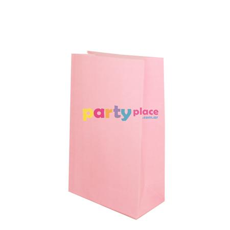 Bolsa de papel con base lisa rosa 10u