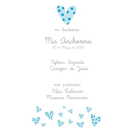 Estampita Bautismo Blue White Hearts 12u