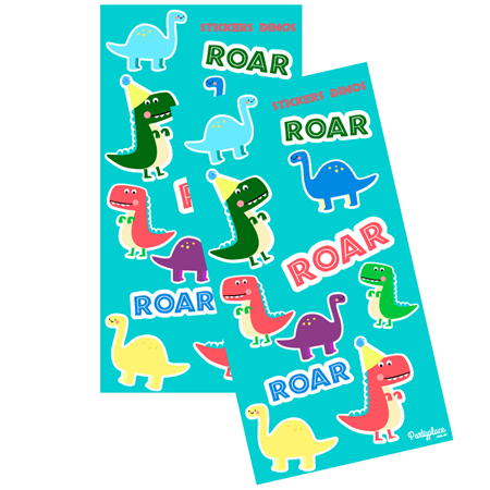 Plancha Stickers Party Baby Dino 10u