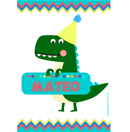 Stickers rectangulares grandes Baby Dino 16u. Pers.