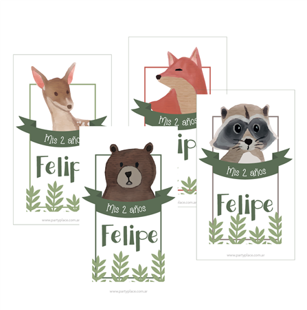 Stickers rectangulares Bosque 15u. Personalizadas