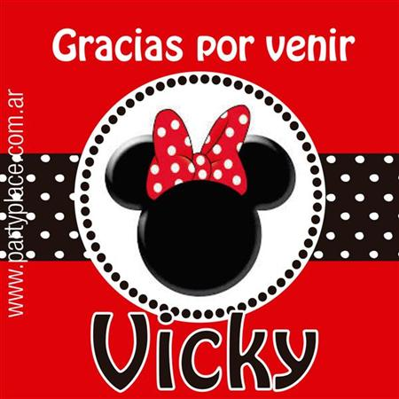 Stickers Minnie roja 16u Personalizadas