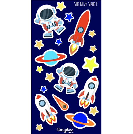 Plancha Stickers Space Party 10u