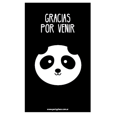 Stickers rectangulares grandes Panda 16u. Pers.