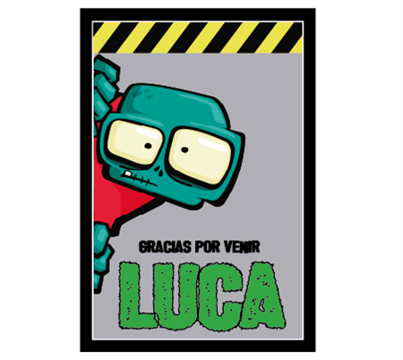 Stickers rectangulares grandes Zombies 10u Pers.